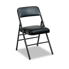 Deluxe Vinyl Padded Seat & Back Folding Chairs, Black, 4/Carton CSC608830054