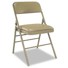 Deluxe Vinyl Padded Seat & Back Folding Chairs, Taupe, 4/Carton CSC60883TAP4
