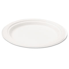Compostable Sugarcane Bagasse 6 in Plate, Round, White, 50/Pack SVAP001