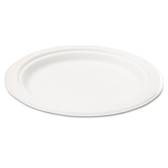 Compostable Sugarcane Bagasse 7 in Plate, Round, White, 50/Pack SVAP002