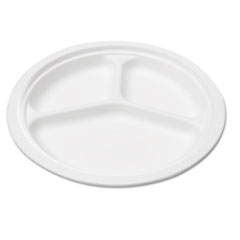 Compostable Sugarcane Bagasse 10 in 3-Compartment Plate, Round, White, 50/Pack SVAP007