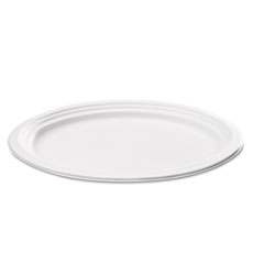 Compostable Sugarcane Bagasse Oval Plate, 9 x 6.5, White, 125/Pack SVAP009