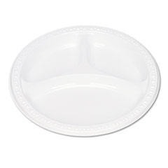 "Plastic Dinnerware, Compartment Plates, 9"" dia, White, 125/Pack TBL19644WH"