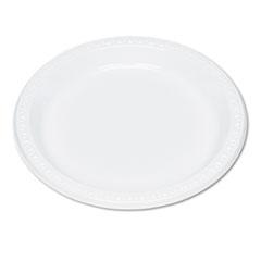 "Plastic Dinnerware, Plates, 9"" dia, White, 125/Pack"