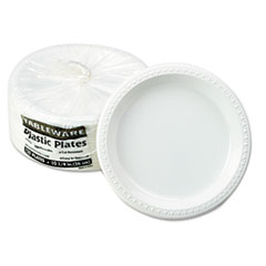 "Plastic Dinnerware, Plates, 10 1/4"" dia, White, 125/Pack TBLTM10644WH"