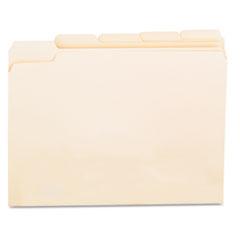 File Folders, 1/5 Cut Assorted, One-Ply Top Tab, Letter, Manila, 100/Box UNV12115