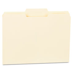 File Folders, 1/3 Cut Second Position, One-Ply Top Tab, Letter, Manila, 100/Box UNV12122
