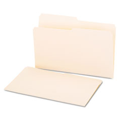 File Folders, 1/2 Cut, One-Ply Top Tab, Legal, Manila, 100/Box
