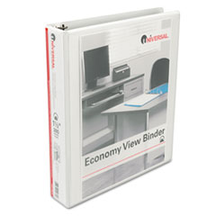 "Round Ring Economy Vinyl View Binder, 1-1/2"" Capacity, White UNV20972"