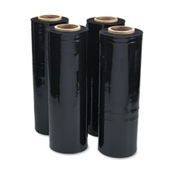 "Black Stretch Film, 18"" x 1, 500ft Roll, 20mic (80-Gauge), 4/Carton"