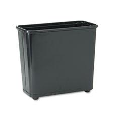 Fire-Safe Wastebasket, Rectangular, Steel, 7.5gal, Black