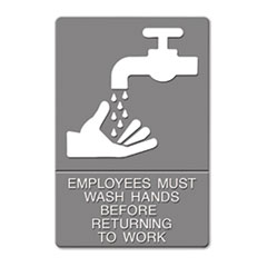 """USS EMPLOYEES MUST WASH HANDS 6"""" X 9"""" ADA TACTILE & BRAILLE"""