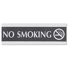 Century Series Office Sign, NO SMOKING, 9 x 3, Black/Silver USS4757