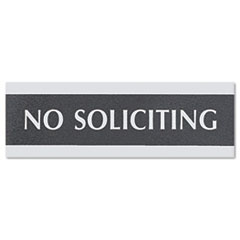 """USS NO SOLICITING 9"""" X 3"""" OFFICE SIGN BLACK"""