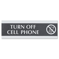"""USS TURN OFF CELL PHONE 9"""" X 3"""" OFFICE SIGN BLACK"""