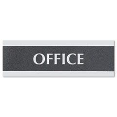 Century Series Office Sign, OFFICE, 9 x 3, Black/Silver USS4762