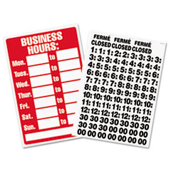 Business Hours Sign w/Vinyl Characters, Poly Resin, 8 x 12, Red/White USS9394