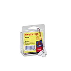 Jewelry Tags, Paper, 13/16 x 3/8, White, 100/Pack