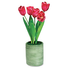 Baumgartens BAU98043 - Artificial Red Dutch Tulips in a Green Terra Cotta Pot, 15 Overall He at Sears.com
