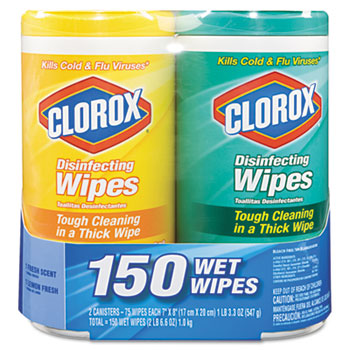 Clorox Sales Co. Disinfecting Wipes, 7 x 8, Lemon and Fresh, 75 Wipes/Canister, 2/Pack at Sears.com