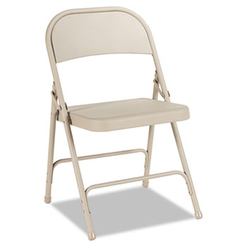 Steel Folding Chair with Two-Brace Support, Tan, 4/Carton