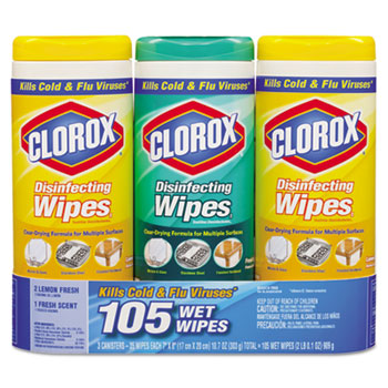 Clorox Sales Co. Disinfecting Wipes, 7 x 8, Lemon and Fresh, 35 Wipes/Canister, 3/Pack at Sears.com