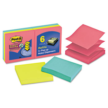 Pop-Up Refill, 3 x 3, 3 Jewel Pop Colors, 6 90-Sheet Pads/Pack
