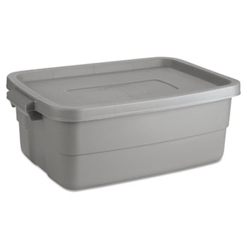 Rubbermaid Roughneck Storage Box, 10 gal, Steel Gray