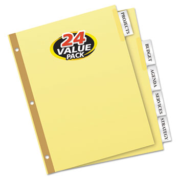 Ave11113 Avery Insertable Big Tab Dividers 5 Tab Letter 24