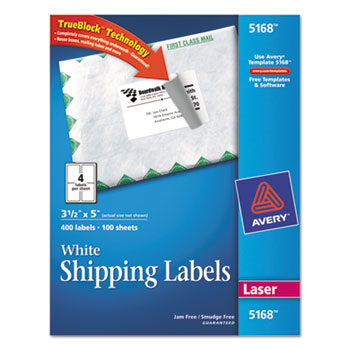 superwarehouse avery 35quot x 5quot white mailing labels for With avery 3 5 x 5 labels