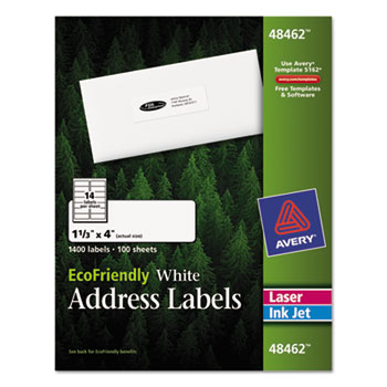 Ecofriendly laser inkjet mailing labels 1 1 3 x 4 white for Staples white mailing labels template