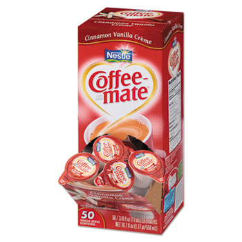 Liquid Coffee Creamer, Cinnamon Vanilla, 0.375 oz Mini Cups, 50/Bx, 4 Box/Carton