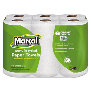100% Recycled Roll Towels, 2-Ply, 5 1/2 x 11, 140/Roll, 24 Rolls/Carton