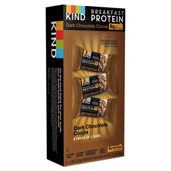 Breakfast Protein Bars, Dark Chocolate Cocoa, 50 g Box, 8/Pack