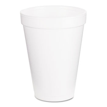 Foam Drink Cups, 12oz, White, 1000/Carton