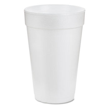 Foam Drink Cups, 16oz, White, 25/Bag, 40 Bags/Carton