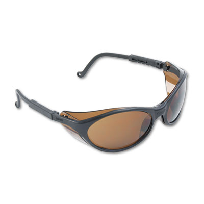 Bandit Wraparound Safety Glasses, Black Nylon Frame, Espresso Le