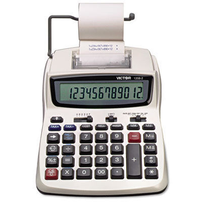 1208-2 Two-Color Compact Printing Calculator, Black/Red Print, 2