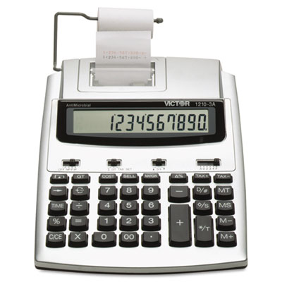 1210-3A Antimicrobial HT Printing Calculator, Black/Red Print, 2