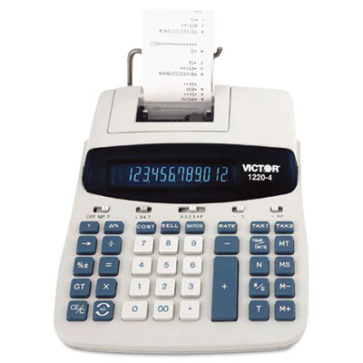 1220-4 Two-Color Tax Key Printing Calculator, Black/Red Print, 3