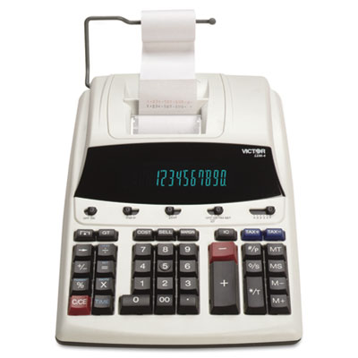 1230-4 Fluorescent Display Printing Calculator, Black/Red Print,