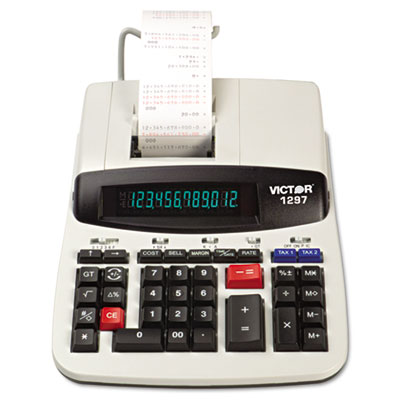 1297 Two-Color Commercial Printing Calculator, Black/Red Print,