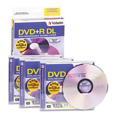 Dual-Layer DVD+R Discs, 8.5GB, 2.4x, w/Jewel Cases, 3/Pack, Silv