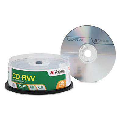 CD-RW Discs, 700MB/80min, 4X, Spindle, Matte Silver, 25/Pack