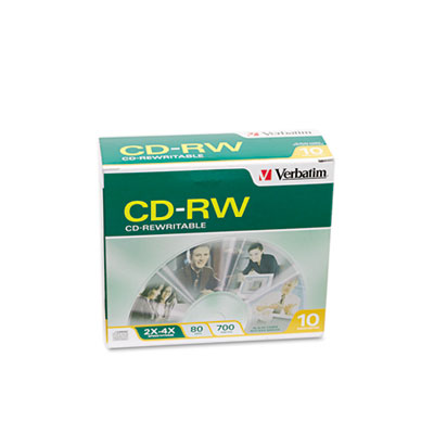 CD-RW Discs, 700MB/80min, 2X/4X, Slim Jewel Case, Matte Silver,