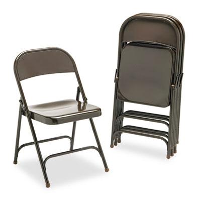 Metal Folding Chairs, Mocha, 4/Carton