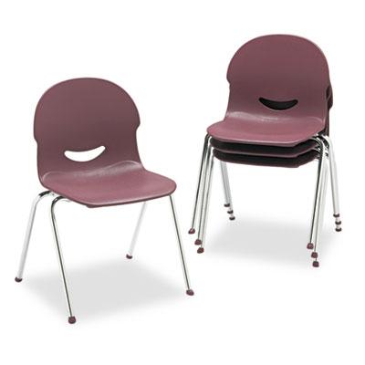 "IQ Series Stack Chair, 17-1/2"" Seat Height, Wine/Chrome, 4/Carto"