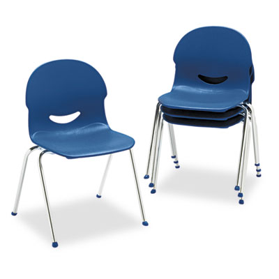 "IQ Series Stack Chair, 17-1/2"" Seat Height, Navy/Chrome, 4/Carto"