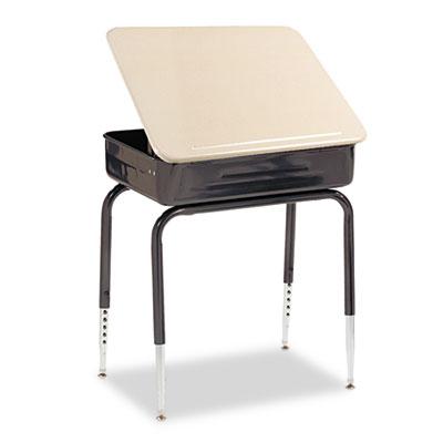 Lift-Lid Student Desk, 24w x 18d, Sandstone, 2/Carton