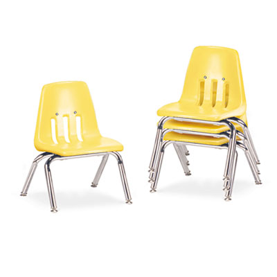 "9000 Series Classroom Chairs, 10"" Seat Height, Squash/Chrome, 4/"